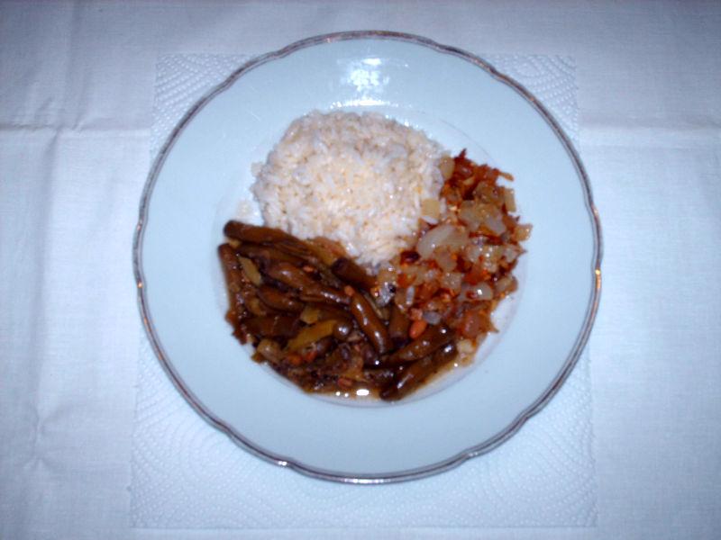 Weiße Pfefferbohne mit Reis