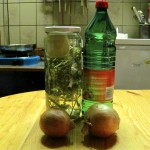 Feldsalat,Chili,Knoblauch mit Zwiebelessig