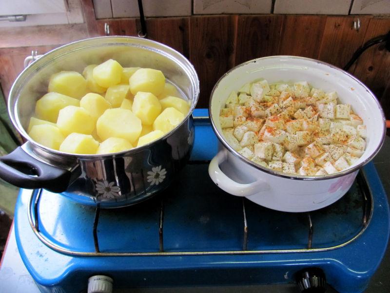 Selleriegemüse mit Bratkartoffeln